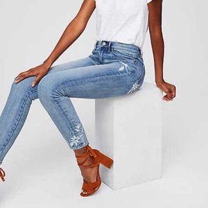 LOFT Modern Skinny Crop Embroidered Floral Jeans